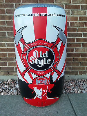 Old Style/Chicago Fireman Heroes Axe & Fire Hose Inflatable Beer Sign....B/New