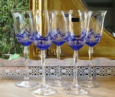 Boxed set of 6 Sapphire Blue BOHEMIA crystal hand cut wine glasses.