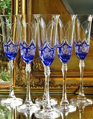 Boxed set of 6 Sapphire Blue BOHEMIA crystal hand cut Champagne Flutes.
