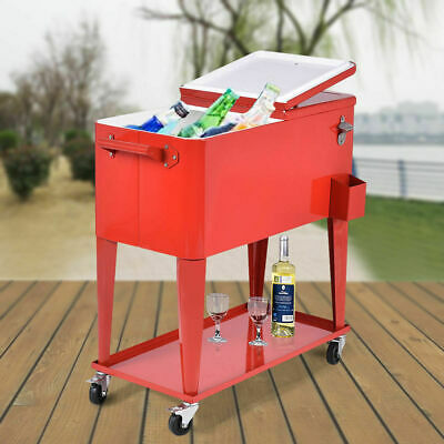 Patio Cooler Rolling Outdoor 80 Quart Solid Steel Construction Home Party New