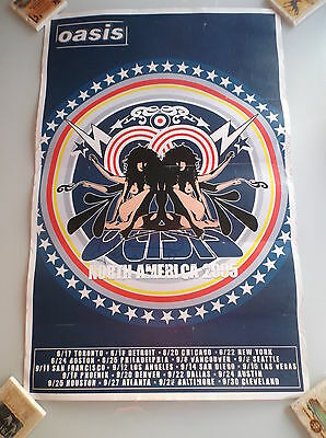Oasis Liam & Noel Gallagher Hand Signed Autographed 2005 North America Poster
