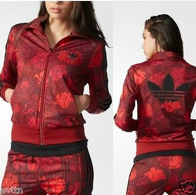 %adidas Women Firebird Red Black Floral Rose Track Top Jacket