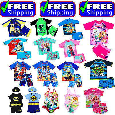 New Kids Size 1-10 Swimsuit Bathers Swimming Bikini Top Trunk Frozen Paw Patrol