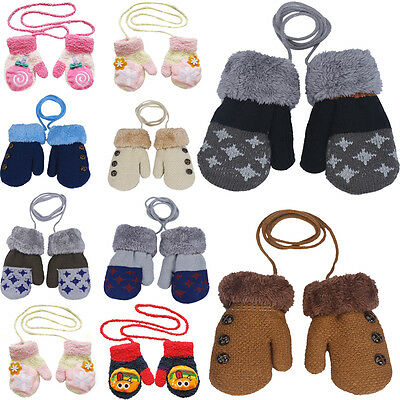 Fashion Newborn Baby Kids Girls Boys Gloves Winter Warm Stretchy Knitted Mittens