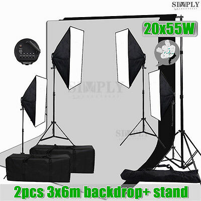Photography Studio Softbox Soft box Lighting Light Muslin Backdrop Stand Kit Set