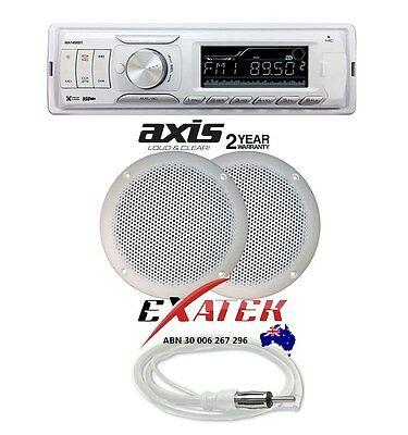AXIS MA1400BT Marine Waterproof Audio Kit MP3/USB/AM/FM/Ipod + MA500S Boat