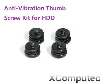 Anti-Vibration Thumb Screw Kit For Hard Drive HDD Computer Tower Black - 4 Pack