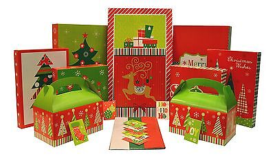 Christmas Gift Box Set - Kit Contains Gift Boxes, Gift Tags, Tissue Paper NEW