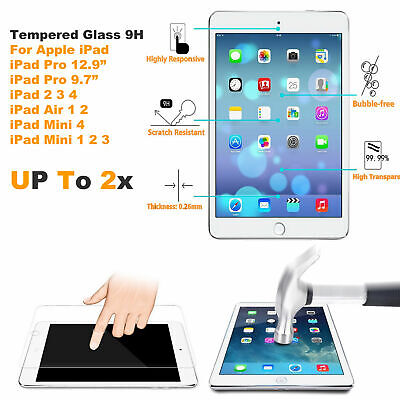 2X Tempered Glass Screen Protector For iPad 4 3 2 Air 2 Mini 3 2 1 Pro 12.9/9.7""
