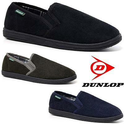 Mens Slippers Dunlop Warm Twin Gusset Slip On Winter Cord Check Indoor Shoes Siz