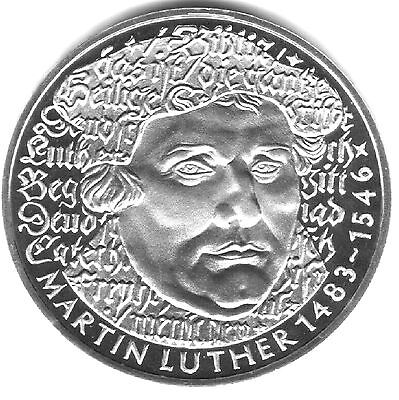 Martin Luther 5 Mark 1983 West Germany. Perfect Mint condition.