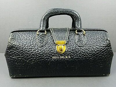 Vintage Eli Lilly Doctor Doctors Bag Medical Satchel - PEBBLED Black Leather