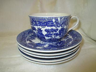 Vintage Japan Blue Willow Coffee Cup and 5 saucers
