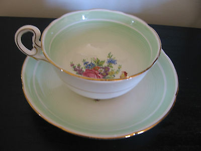 Royal Grafton Mint Green Floral Bottom China Cup and Saucer