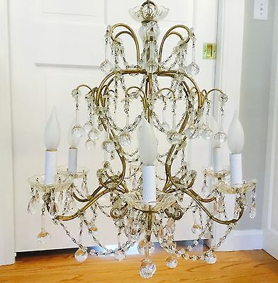 Magical Antique Vintage Italian Crystal Beaded Directoire Chandelier 6 Light