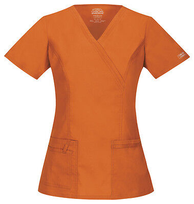 Cherokee Workwear Scrubs Women's V Neck Top 4728 PUNW Pumpkin Free Shipping