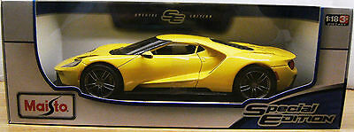 Maisto 2017 FORD GT YELLOW RARE 1:18 DIECAST MODEL SPECIAL EDITION NEW BOXED.