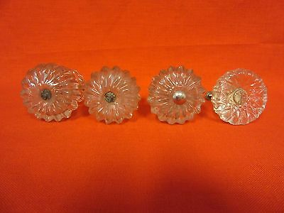Lot Of 4 Antique Glass Drawer Cabinet Drawer Pulls Handles Knobs