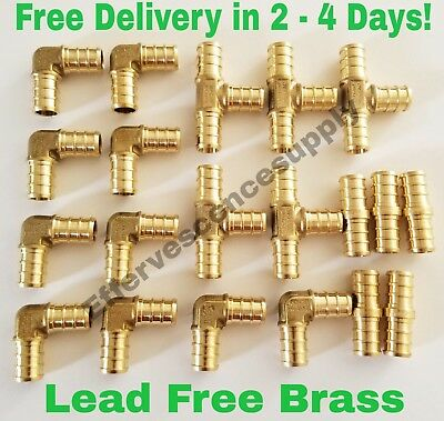 "(20) 1/2"" Brass Pex Fittings Elbow,coupler, Tee (Lead Free Brass)"