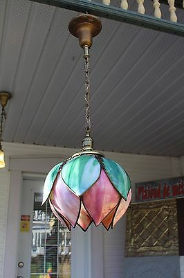 Antique Pendant Ceiling Light Fixture Curved Slag Glass Tulip Shade Porch Huge