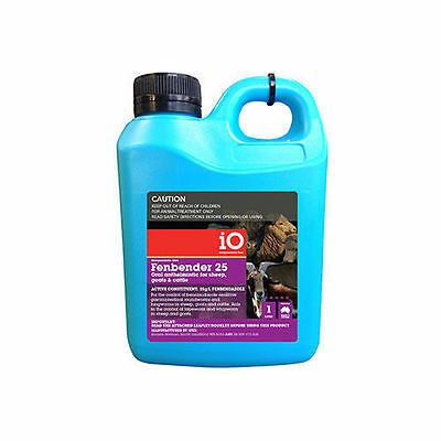 iO Fenbender 25 Oral Anthelmintic wormer Sheep Cattle Goats 1L equiv. Panacur 25