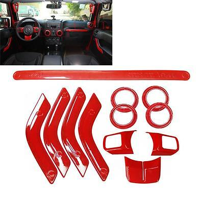 12Pcs/Set Red Interior Dashboard Cover Trim for Jeep Wrangler 4 Door 2011-2015