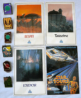 Disney WDI Star Tours Adventures LE 200 Mystery Pin set with Original Post Cards