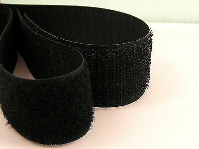 1M or 2M x High Quality BLACK 30mm Width SEW On HOOK and LOOP Fastener TAPE