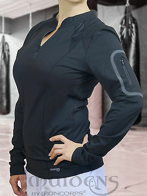 Ladies Zippered Long-Sleeve Workout Shirt - Gym/ Fitness/ Casual - Active Fabric