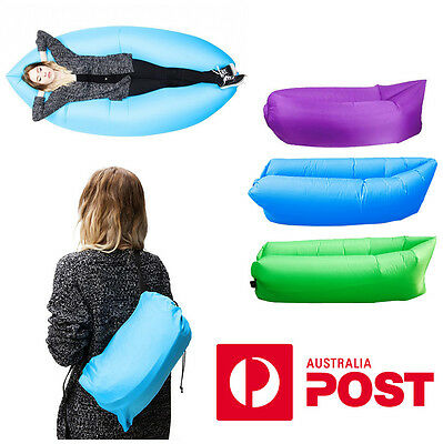 Fast Inflatable Air Sleeping Bag Camping Bed Beach Hangout sofa Lounge Holiday