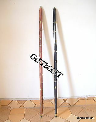Without Handle Brass & Wood Walking Stick Black & Red Brass Small - Small Design
