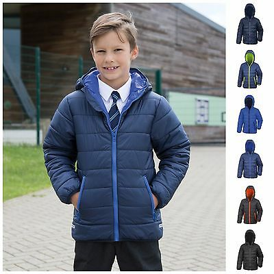 6cd6e78ca705 CHILDRENS PADDED JACKET Coat Quilted Puffer Hooded School Down ...