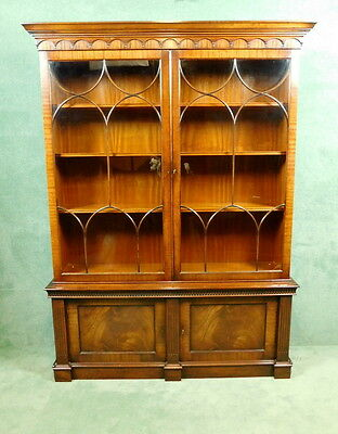 Mahogany Chippendale Style Double Door Bookcase