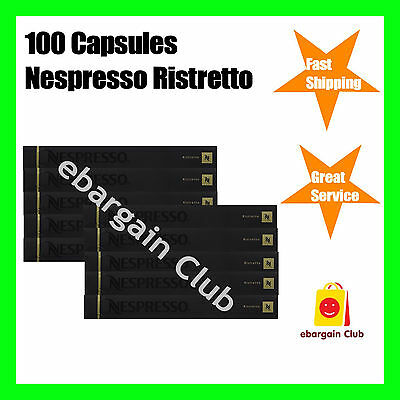 100 Capsules Nespresso Coffee Ristretto Premium Intense Coffee Pod Express Post