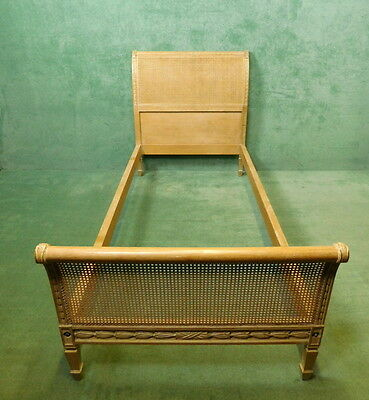 Pair Of Limed Walnut Bergere Cane Work Single Beds • £400.00