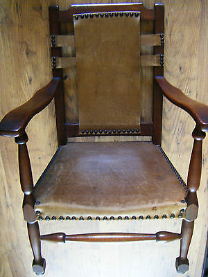antique childrens chair oak frame leather studded
