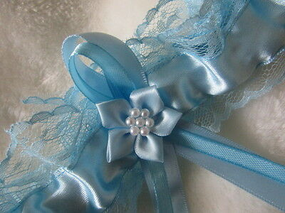 Light Blue Wedding Garter Blue Lace & Ribbon & Blue Flower. Handmade in UK
