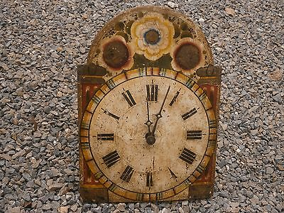 Antique Vintage 19Th Century Original Black Forest Clock Face Wood Handpainted