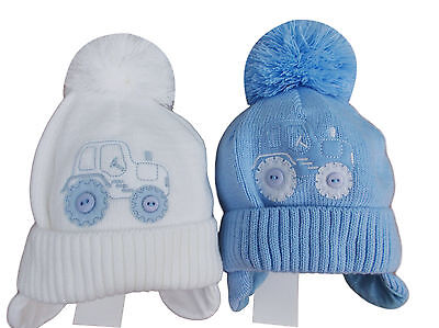 BNWT Baby boys white or blue winter tractor bobble pom pom hat 12m to 3 Years