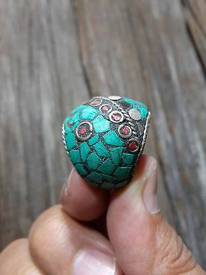 MENS Islamic Ring ANTIQUE Nomadic brass Turquoise carving INTAGLIO coral size 8