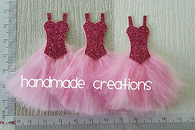 3 x SMALL BEAUTIFUL PINK FEATHER DRESS EMBELLISHMENT TOPPER FOR CARDS/CRAFTS