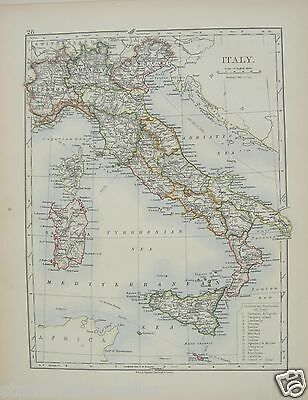 Antique 1895 Map of Italy by W & AK Johnston