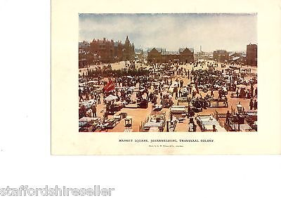 Vintage c1900 Print Boer War Photo Market Square Johannesburg Transvaal Colony
