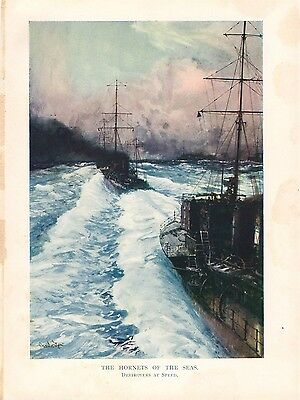 1917 WW1 Original Vintage Print Hornets of the Seas Destroyers at Speed