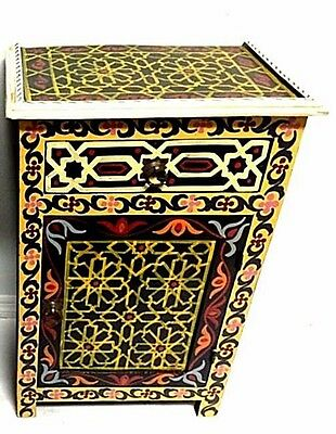 Moroccan Hand Painted Wood Nightstand Wood End Table Arabic Design