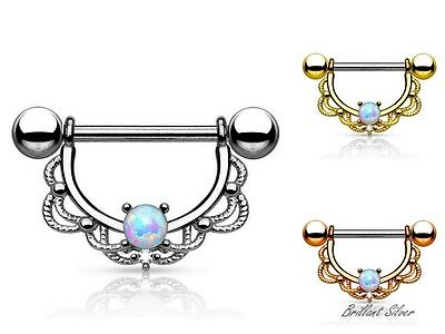 Brustwarzenpiercing Nippelpiercing Filigran Brustpiercing Nipple Shield Opal