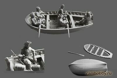 A25 Alexminiatures 1/72 The boat with crew XVIIIcentury model Gusev