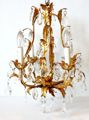 Reserved-Antique Italian Tole Leaves Gilt Crystal Prisms Chandelier Gorgeous