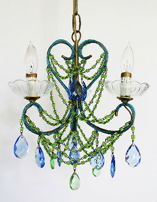 Rare Green & Blue Antique 1920s Beaded Italian Chandelier GORGEOUS!