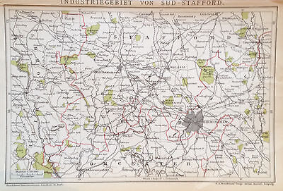 1897 INDUSTRIEGEBIET SÜD-STAFFORD  alte Landkarte Antique Map Lithographie